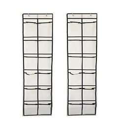 StyleZ 2PCS 12 Large Mesh Pockets Over The Door Shoe Storage Bag Organizer Hanging Narrow Closet ...