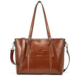 BOSTANTEN Women Leather Laptop Shoulder Handbag Vintage Briefcase 15.6″ Computer Work Tote ...