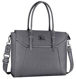 MOSISO 15.6-17 inch Women Laptop Tote Bag with Shockproof Compartment, Gray