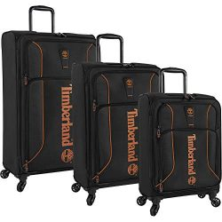 Timberland 3 Piece Hardside Spinner Luggage Suitcase Set, Jet Black