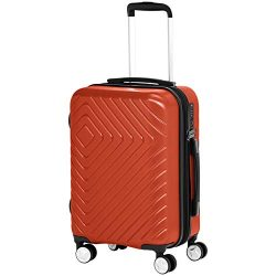 AmazonBasics 2 Piece Geometric Hard Shell Expandable Luggage Spinner Suitcase Set – Sunset