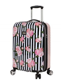 Betsey Johnson Luggage Hardside Carry On 20″ Suitcase With Spinner Wheels (20in, Stripe Roses)