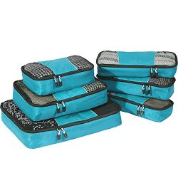 eBags Classic Packing Cubes for Travel – 6pc Value Set – (Aquamarine)