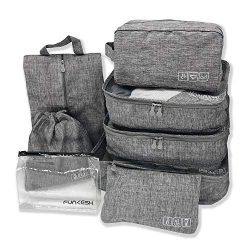 Travel Packing Cubes,8PCS Luggage Organizers Including Shoe Bag,Clear Toiletry Bag