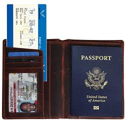 Traversible Leather RFID Blocking US Passport Holder Cover ID Card Wallet – Travel Case (B ...