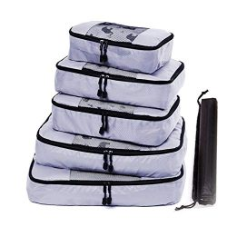 Nesee Garment Bags Suitcase Organizer Set,Travel Packing Cubes 5pcs Luggage Organizer Set for Ba ...