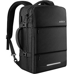 AMBOR 17.3inch Travel Laptop Backpack, 40L Flight Approved Carry-On Backpack for Men and Women,T ...
