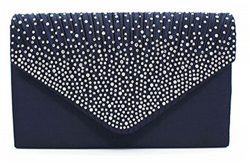 Nodykka Women Evening Envelope Rhinestone Frosted Handbag Party Bridal Clutch Purse Shoulder Cro ...