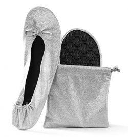 Women's Foldable Portable Travel Ballet Flat Roll Up Slipper Shoes (X-Large, Silver – ...