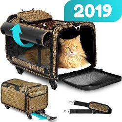 Cozzzy Airline Approved Pet Carrier with Wheels, Soft Sided Pet Carrier, Dog Carriers for Small  ...