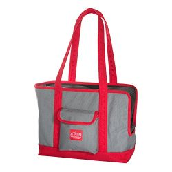 Manhattan Portage Pet Carrier Tote Bag Ver 2, Gray/Red