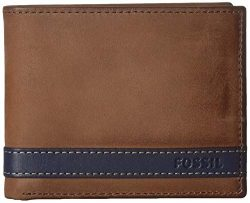 Fossil Men's Quinn Large Coin Pocket Bifold Wallet, Navy,4.5″L x 0.75″W x 3.5& ...