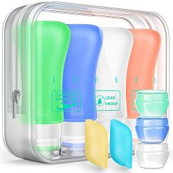 Travel Bottles TSA Approved Containers, 3oz Silicone Leak Proof Travel Accessories Toiletries an ...