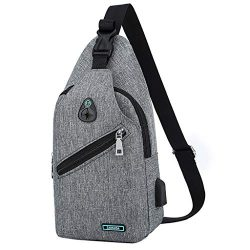 Haluoo Mens Anti Theft Water Resistant Chest Shoulder Backpack Sling Bag Small Crossbody Daypack ...