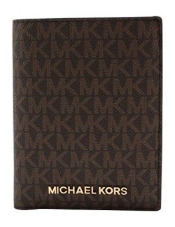 Michael Kors Jet Set Travel Passport Holder Wallet Case Brown PVC 2019