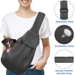 SlowTon Pet Carrier, Hand Free Sling Adjustable Padded Strap Tote Bag Breathable Cotton Shoulder ...