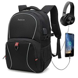 Durable Travel Laptop Backpack, School Computer Backpack with USB Charging Port & Headphone  ...