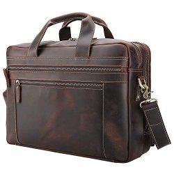 Tiding Men's Leather Briefcases Messenger Bag 15.6″ Vintage Laptop Bag Attache Case  ...