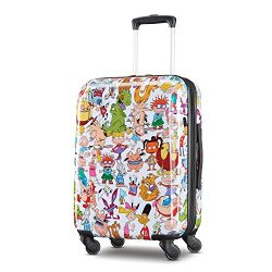 American Tourister Kids' Nickelodeon 90s Mash Up Hardside Spinner 21, White/Orange