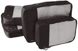 AmazonBasics 4 Piece Packing Travel Organizer Cubes Set – 2 Medium and 2 Large, Black