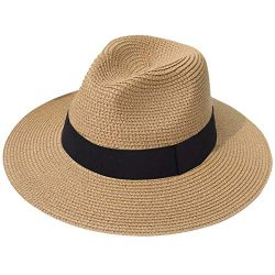 Lanzom Women Wide Brim Straw Panama Roll up Hat Fedora Beach Sun Hat UPF50+ (A-Brown 1)