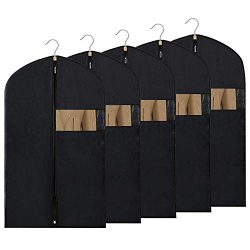 Thipoten Garment Bags for Storage and Travel, Set of 5 Breathable 40 Inches Dust Proof Suit Bag  ...