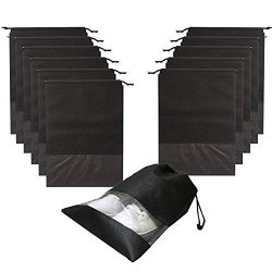 Travel Shoe Bags 12 PCS Non-Woven Drawstring Storage with Rope Transparent Slot for Men and Wome ...