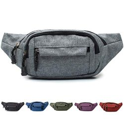 Tircuger Fanny Pack with 4-Zipper Pockets, for Men Women Unisex Adjustable Belt Waist Pack Bag f ...