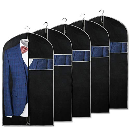 Syeeiex 40 inch Suit Bags for Storage and Travel with Clear Window and ID Card Holder for Suit,  ...