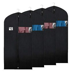 Syeeiex Suit Storage Garment Bags – Travel 50-inch Coat Protector Bag with Clear Window an ...