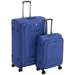 AmazonBasics 2 Piece Expandable Softside Spinner Luggage Suitcase With TSA Lock And Wheels Set & ...