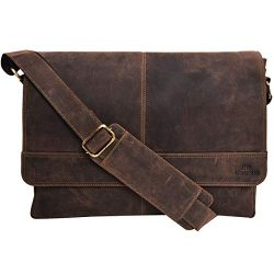 Genuine Leather Messenger Bag for Men and Women – 14 inch Laptop Bag for College Work Offi ...