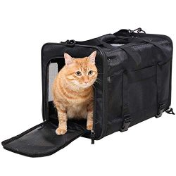 Top Loading Large Pet Carrier for Cat and Small Dog, Airline Approved, Collapsible-Soft Sided Pe ...