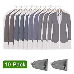 Perber Hanging Garment Bag Lightweight Clear Full Zipper Suit Bags (Set of 10) PEVA Moth-Proof B ...