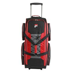 Fila 32″ Large Lightweight Rolling Duffel Bag, Red, One Size
