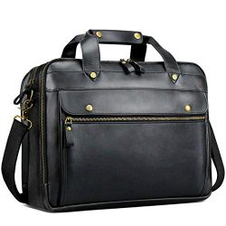 Leather Briefcase for Men Laptop Bag 15.6 Inch Business Travel Messenger Bag Large Waterproof Re ...