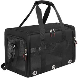 Mancro Pet Carrier Airline Approved, Soft-Sided Pet Travel Bag for Cats with Mesh Windows and Fl ...