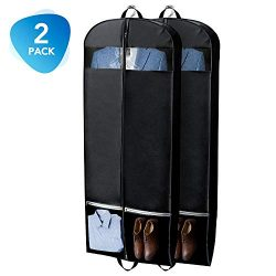 HOUSE DAY Garment Bags 2 Pack 54 inch Garment Bags for Storage Travel Nonwoven Fabric Dress Bag  ...