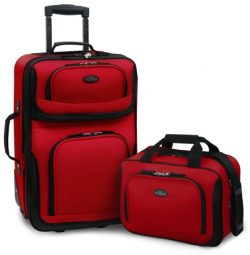 U.S. Traveler Rio 2-Piece Expandable Carry-On Luggage Set, Red