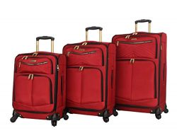 Steve Madden Luggage 3 Piece Softside Spinner Suitcase Set Collection (Rockstar Red, One Size)