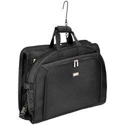 AmazonBasics Premium Tri-Fold Travel Hanging Garment Bag – 50 Inch, Black