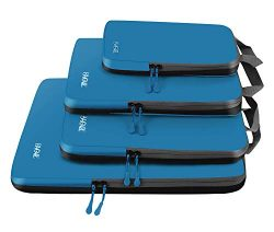 4 Set Compression Packing Cubes Travel Expandable Packing Organizers(Dark Blue)