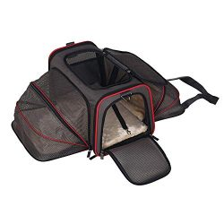 Petame Pet Carrier, Airline Approved Expandable Soft Sided Pet Travel Carriers with 2 Expandable ...
