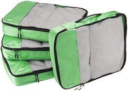 AmazonBasics 4 Piece Packing Travel Organizer Cubes Set – Large, Green