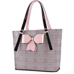 MOSISO Laptop Bag for Women,15.6 inch Laptop Tote Bag Premium PU Leather Grid Pattern Large Capa ...