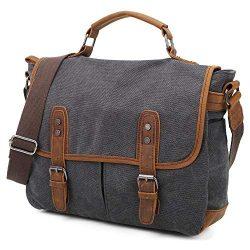 Gimay Men's Messenger Bag 15.6 Inch Canvas Leather Shoulder Bag Laptop Bag(Black)