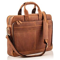 Full Grain Leather Laptop Messenger Bag for Men – Fits 15.6″ Laptop's, Phones, ...