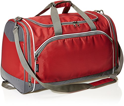 AmazonBasics Small Lightweight Durable Sports Duffel Gym and Overnight Travel Bag – Red