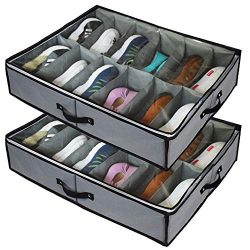 stylishom Under Bed Shoe Storage Organizers ,2 Pack Fit 24 Pairs, Underbed Shoe Storage Contain ...