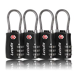 TSA Approved Luggage Locks, Letsfit Combination Lock, Pad Locks for Backpacks, Ideal Small Cable ...